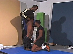 This black bro didn't want just cock sucking, so he ends up turning his friend over and shoves..