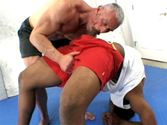 Old muscleman takes huge black shaft up his ass